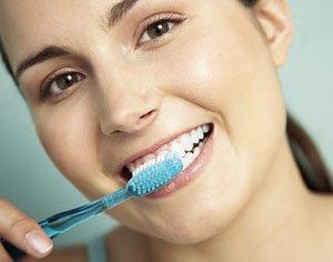 Brushing teeth.