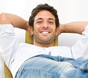 Dental patient relaxing.